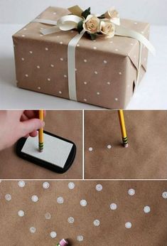 Tinker gift packaging and creative packaging of gifts - wrapping paper with . - Tinker gift packaging and pack gifts creatively – design your own gift wrap with white dots and p - Creative Gift Wrapping, Creative Gifts, Wrapping Gifts, Diy Wrapping Paper, Creative Gift Packaging, Wrapping Papers, Packaging Ideas, Diy Creative Ideas, Gift Wrapping Ideas For Birthdays