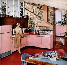 Image detail for -vintage mid century pink kitchen 1953 by FrenchFrouFrou on Etsy