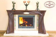 Fireplace. Style: a modernist style. A material: an oak, a brass, malachite, a marble.