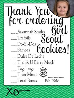 thank you cards girl scout cookies | did these little Girl Scout Cookie thank you reminders, too.