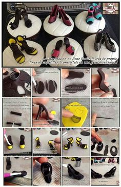 Easy gumpaste fondant shoe heel toppers for cupcakes or cakes