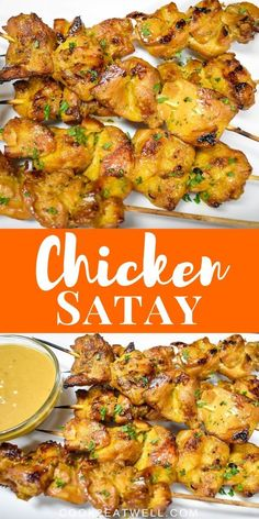 In this recipe, chicken thighs are marinated in soy sauce, coconut milk, brown sugar and a combination of spices. Then they're grilled and served with a delicious peanut sauce. Entree Recipes, Indian Food Recipes, Asian Recipes, Appetizer Recipes, Cooking Recipes, Thai Recipes, Peanut Sauce Chicken, Recipe Chicken, Chicken Recipes