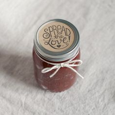 Spread the Love. Wedding Favor Stamp for DIY jam and jelly favors. Hand lettered from the Chatty Press