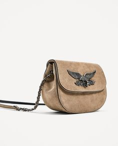 Image 1 of LEATHER CROSS BODY BAG WITH FLAP DETAIL from Zara