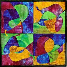 "Sara Kelly Art Quilts: Chopped Pears 12""x12"" 2010"