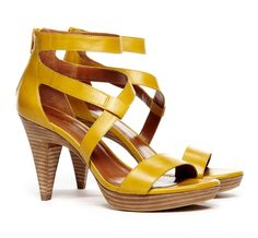 yellow and wood stacked heel