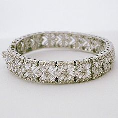 CZ bridal & evening jewelry.  Vintage inspired CZ bracelet with baguette & round prong set CZ's.  1/2