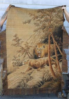 antique lion tapestry