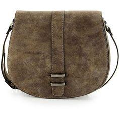 Neiman Marcus Faux-Suede Saddle Bag