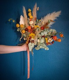 Dried preserved flowers are perfect for Weddings and elopements. Orange, yellow, pampas, rusty reds, eucalyptus and bunnytails. Scottish Flowers, Preserved Flowers, Second Weddings, How To Preserve Flowers, Flower Farm, Elopements, Orange Yellow, Wedding Bouquets, Scotland
