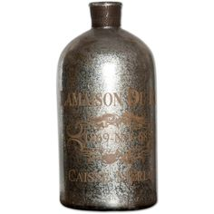 Large LaMaison Mercury Glass Bottle ($279) ❤ liked on Polyvore featuring home, kitchen & dining, serveware and mercury glass bottles