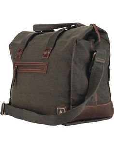 Canvas satchel carry on bag with leather accents. Grab handle, shoulder  strap +