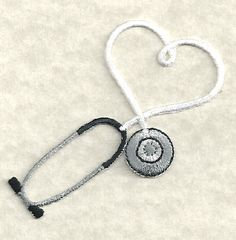 Stethoscope Iron On Patch - Embroidered White ~ Available In 9 Colors