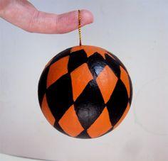 Orange and Black Argyle Halloween Ornament by ElizabethanFolkArt on Etsy