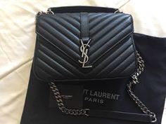 c981b187d7ec Authentic YSL YVES Saint Laurent 100% College Monogram medium bag black   fashion  clothing  shoes  accessories  womensbagshandbags (ebay link)