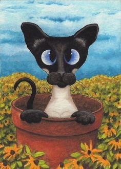 AmyLyn Bihrle cats | Siamese Flower Pot - by AmyLyn Bihrle from Curious Kitties