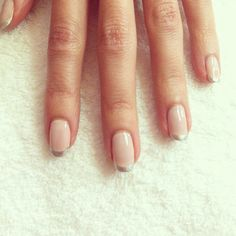 "The ""new"" French Manicure @essiepolish Base: BBF Best Boyfriend Tip: No Place Like Chrome"