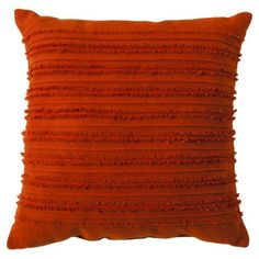 "Order two of these for sofa. $20 | Target (great buys, good texture, nice color.)   Threshold™ Fringe Toss Pillow - Orange (20x20"")"
