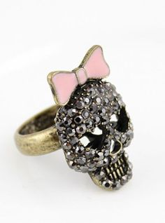 Gold Crystal Bow Skull Ring pictures