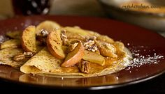 Crepes with apples, pecan, and cheddar cheese - Might also fill with cream cheese