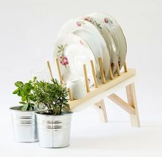 Plant-Watering Dish Rack Drains into Herb Pots