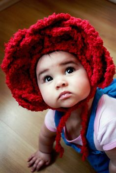 3 to 6 Months Rose Flower Pixie Bonnet Hood  Crochet by BabaMoon, $24.00
