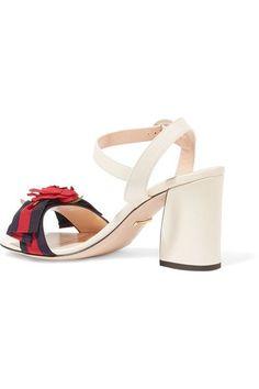 Gucci - Appliquéd Grosgrain-trimmed Leather Sandals - Neutral - IT38.5
