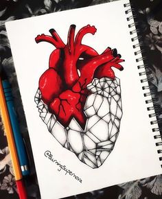 I've got a diamond heart that you can't break. ✨♥️ ______________________________________ Another original piece by yours truly w/o reference. Colored pencils on red marker + black ink pen + pencil. Diamond Sketch, Diamond Drawing, Diamond Art, Broken Heart Drawings, Broken Heart Art, Heart Break Drawings, Marker Kunst, Marker Art, Heart Anatomy Tattoo