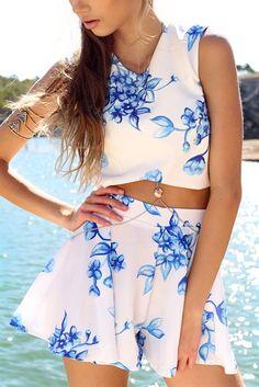 Indigo Floral Shorts | SABO SKIRT