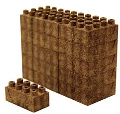 "These LEGO-like building blocks are made from ""a composite of the bark of the cedar tree, compressed dust from sawn cedar logs, and coffee beans as well as other recycled materials.""  The Earth Toy Earth Blocks are 1.25″ long x 0.6″ wide x 0.6″ high.  A set of 50 blocks is $30 at the Guggenheim Store."