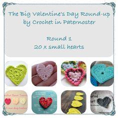 A round-up of free crochert heart patterns. 1. small hearts https://crochetinpaternoster.wordpress.com/2015/01/15/big-valentines-day-crochet-hearts-round-up/