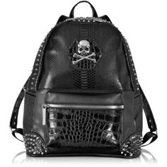 Philipp Plein Small Serious Black Studded Men's Backpack ($948) ❤ liked on Polyvore featuring men's fashion, men's bags, men's backpacks and mens backpacks