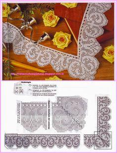Risultati immagini per miria croches e pinturas Filet Crochet, Crochet Shawl Diagram, Crochet Borders, Crochet Stitches, Crochet Patterns, Crochet Crafts, Crochet Doilies, Crochet Lace, Knit Edge