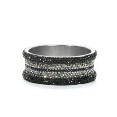 Love this Bling! Rock 'n roll glam has never been so much fun as with the Chrissy Bangle. A bevy of cz in jet black, sapphire and jonquil emblazon this matte silver bangle to make you look like a rock star. Secret Boutique, My Boutique, Women Accessories, Jewelry Accessories, Bead Jewelry, Jewlery, Stylish Jewelry, Fashion Jewelry, Queens Jewels