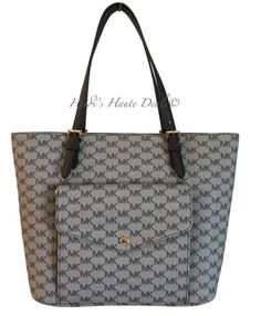 c51cfc32d28b Nwt michael kors jet set large pocket tote black gray logo multi function  bag