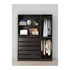 PAX Wardrobe, black-brown black-brown 150x58x201 cm