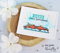 """or today's HoneyBee Saturyay I have a card with the adorable """"Blah Bunny"""" from for you! I fell in love with him at first Falling In Love With Him, I Fall In Love, It's Your Birthday, Birthday Cards, Honey Bee Stamps, Bee Cards, Little Boxes, Punch Art, Watercolor Cards"""
