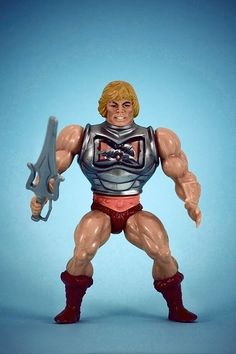 """My brother had tbem all! He-Man had to be one of my favorite toys as a kid. I was so happy when I got """"Battle Damage"""" He-Man! 1980s Childhood, Childhood Memories, Retro Toys, Vintage Toys, Vintage Art, He Man Figures, Hee Man, Gi Joe, Toys In The Attic"""