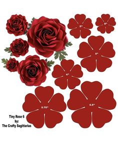 Hard Copy Template of 6 sizes Tiny Rose 6 availabl - Paper Flowers Ideas Paper Flowers Craft, Large Paper Flowers, Crepe Paper Flowers, Giant Paper Flowers, Paper Flower Backdrop, Felt Flowers, Flower Crafts, Diy Flowers, Fabric Flowers