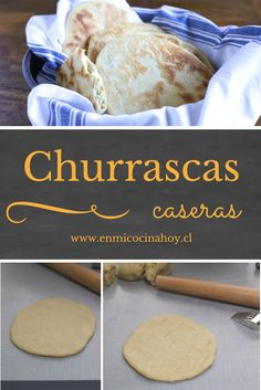 "Churrascas, is one of the most traditional Chilean bread. Cook on the stovetop or on the ""breseros"" (small indoor grills) Chilean Recipes, Chilean Food, Tapas, Salty Foods, Waffles, Pancakes, Pan Bread, Latin Food, Sin Gluten"
