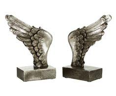 """Komplet 2 podpórek bibliotecznych """"Wing Silver"""", 8 x 16 x 23 cm"""