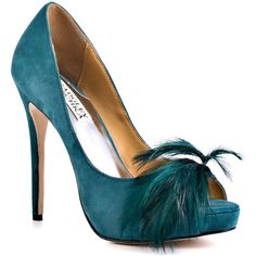 Badgley Mischka Women's Ginnie - Teal Leather (€170) ❤ liked on Polyvore featuring shoes, pumps, heels, sapatos, zapatos, formal, platform, open toe, stiletto heels and women