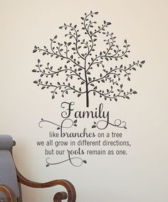 'Family Like Branches on a tree we all grow in different directions, but our roots remain as one'  Wall Quote