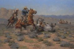 Western Painting #cowboy #horse #battle