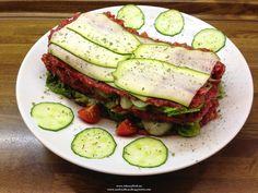"Raw vegan recipe for ""Zucchini - cucumber - ""Lasagna"" with persimmon - beet - sauce"" (rawvegan, rawfood, 80-10-10),"