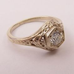 Diamond Vintage / Antique Style Pre-Set Filigree Ring with Scrolls. Antique Rings cast from the exact die, hub and mold of the vintage time period. Yellow Diamond Engagement Ring, Antique Engagement Rings, Designer Engagement Rings, Diamond Rings, Solitaire Rings, Black Diamond, Wedding Rings Vintage, Vintage Rings, Vintage Diamond