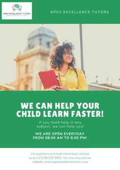 Don't forget to your child's education the treatment is deserves. Home Tutoring and Online lessons' registration are now open. Strict COVID regulations implemented for Home Tutoring sessions. Contact Us TODAY! 068 035 1845 (available also on whatsapp) Excellence, Integrity & Success ! Hit Home, Learn Faster, Malcolm X, Online Lessons, Kids Education, Number One, Integrity, Kids Learning, Don't Forget