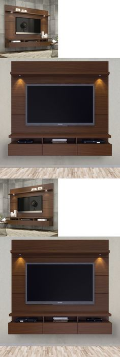 Entertainment Units TV Stands: Entertainment Center Modern Tv Stand Media Console Wall Mounted Furniture Brown BUY IT NOW ONLY: $799.59