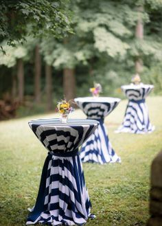 Backyard Rehearsal Dinner | The Event Group | Pittsburgh, Simple Elegance, Preppy, Navy and White, Striped Linens, Sunflower Centerpieces
