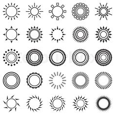 Stock vector of 'set of sun icons isolated on white background. Creative sunlight symbols in black and white. Elements for weather forecast design. Simple Sun Tattoo, Sun Tattoo Small, Small Tattoos, Cool Tattoos, Anklet Tattoos, Tatoos, Nature Tattoos, Body Art Tattoos, Tattoo Studio